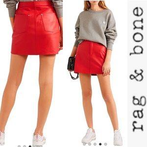 NWT Rag + Bone Moss Red Leather lambskin Skirt 25